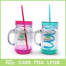 Small order Attractive FDA Qaulity 10oz 16oz 20OZ 24oz double wall plastic mason jar