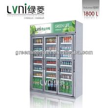 LVNI 1800L side by side refrigerator /commercial supermarket upright showcase freezer/glass door display freezers