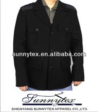 Winter turndown collar black wool varsity jackets