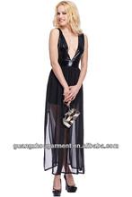 2014 V-neck Split Chiffon Hem Black Maxi Dress OEM service from china supplier at lowest price new chiffon coral formal dress