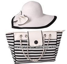 fashion two tone muti-colour strip set tote straw bags foldable cheap beach summer ladies wholesale straw hats