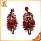 Rose red resin crystal charm earring,hot sale stud earring