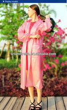Pvc Jenny Adult Long Rain Coat With Pocket Snaps And Hood