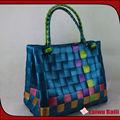 brilhante pe cinta azul handmade saco palha trançada