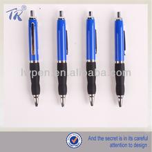 Short Blue Barrel Black Rubber Brand Metal Pen