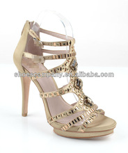 Fasion high heel sandal shoes,platform heel,gladiator accents with stone