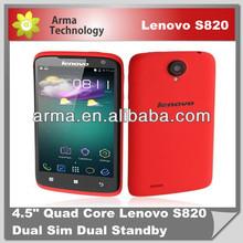 MTK6589 4.7'' Lenovo S820 Quad Core Mobile Phone IPS 1280x720px 1GB RAM Android 4.2 Dual Sim 3G 13mp Camera GPS