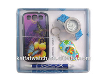 promotional watch gift sets wholesale including samsung cover,pen and key chain / women watch gift set