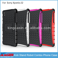 Wholesale Kickstand shockproof robot hybrid combo smart phone cover case for Sony Xperia Z2