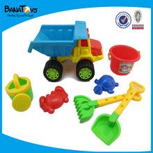 Praia de plástico caminhão de brinquedo com balde e pá brinquedo para crianças