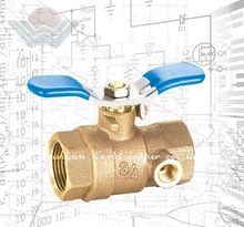 Quarter turn full port ball valves Bronze body construction with hard chromed brass ball with Drain 600WOG