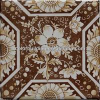 handmade 150x150 rustic flower design moroccan floor tiles