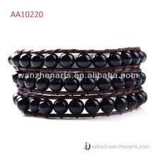 2014 popular lulu style multilayer wrap around leather bracelets