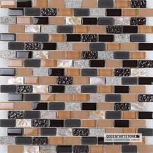 Amber Black Backsplash Inerlocking Glass Mosaic mixed stone and shell Wall Mosaic Tiles