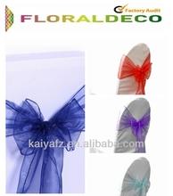 Sheer organza sash for chair decoration