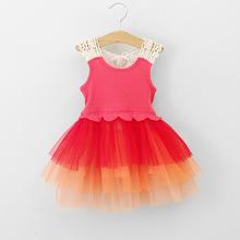 C80811A Korean style girls vest veil pierced Dress girls summer vest dress