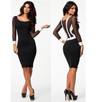 New Fashion 2014 Sexy Elegant Sheath Mesh Patchwork Bandage Dress Long Sleeve Knee Length Party Evening Club Dresses