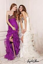 Sexy White and Purple A-Line Sweetheart Leg Split 2014Ruffled Train Beaded Prom Dress