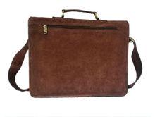 Handmade genuine Leather brown suede Laptop Bag and suede Satchel Briefcase