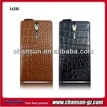 Newest crocodile leather flip case for sony xperia s lt26i