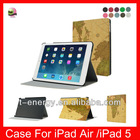 Earth Line Material , Muti-Angle Stand Leather Auto Wake Sleep Smart Cover Case For Ipad Air Leather Case