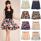 2014 fashion short skirt Pleated sexy women in short mini floral print skirts Chiffon Sheer Skirt With Belt