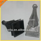2 inch square aluminum finial fence top in mill finished state & powder coated black