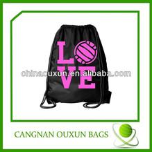 Black promotional 190T polyester draw string bag