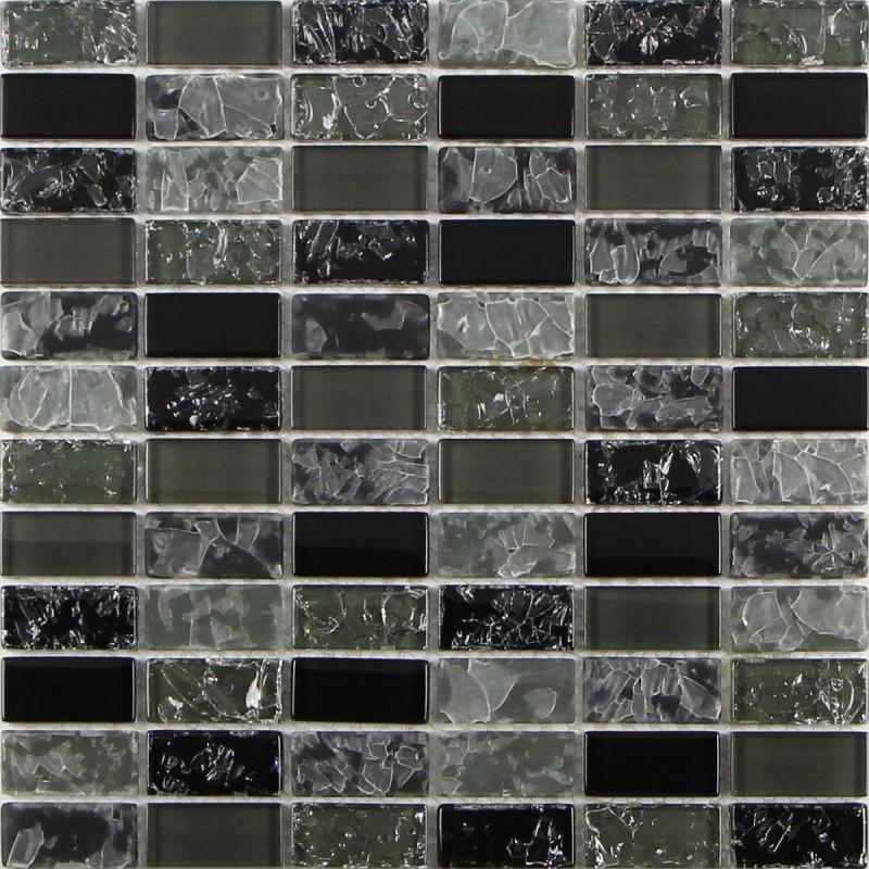 black cracked crystal glass mosaic tile for backsplash