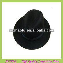 Black wool felt fedora hat with wide flat brim