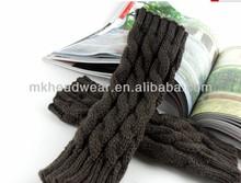 Dark Gray Cotton Knitted Women Winter Long Fingerless Gloves for Cheap Sale