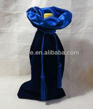 7x17 inch Elegant Satin-Lined Blue custom velvet wine bag with tasseled cord
