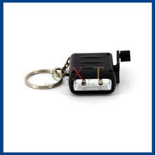 Mini LED Key Chain Flashlight with Handle to Recharge (Black) M.