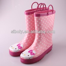 lovely custom made kitty design natural rubber cheap children boots