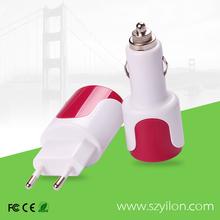 Wholesale travel emergency us plug eu pin wall car charger and usb mobile charger hub