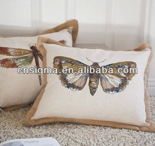 2014 Hot Sale Cotton/polyster embroidered cover for cushion