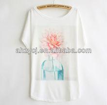 China New fashion flower design short sleeve ladies popular women white t shirt