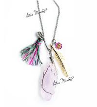 lotusmann Natural purple jade is the original stone long color tassel necklaces