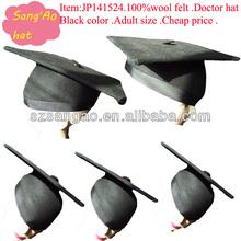 Manufacture/customized Black new fabric cheap school Doctor caps large 100% wool felt wear for school/graduate/school ceremony