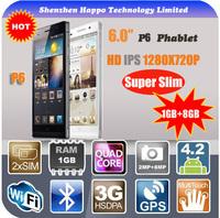 2014 6 inch smartphone HD IPS 1280 x 720 RAM 1G ROM 8G MT6589T Quad Core 3G WCDMA ultra slim android smart phone