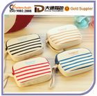 Two zipper pockets norman stripe change purse with wrist strap