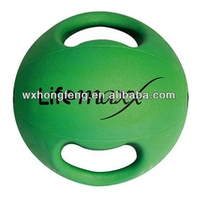 dual handle dual grip rubber medicine ball with handle