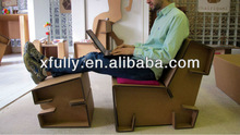 Green Fashionable corrugated paper chair and desk /new style recycled corrugated paper furniture