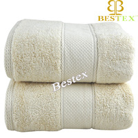 Luxury Cotton fabric Dobby Cream color Custom made bath towels