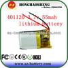 Original manufacture battery lithium polymer 3.7V 55mah 401120 battery