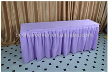 Wedding rectangle polyester table skirt