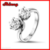 925 sterling silver micro pave bling 2.33 carat diamond 2 stone silver ring