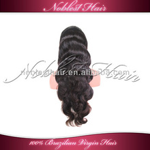 Hot sale premier in stock 100% Brazilian virgin hair wavy with baby hair Body Wave Lace front wigs