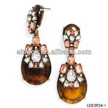 2014 brown glaze tear drop earring, crystal earring, antique gold filled earring