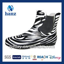 low cut boots fashionable women zebra rubber ankle wellies